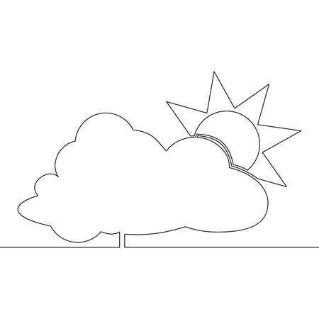 Continuous one single line drawing sun behind the cloud icon vector illustration concept