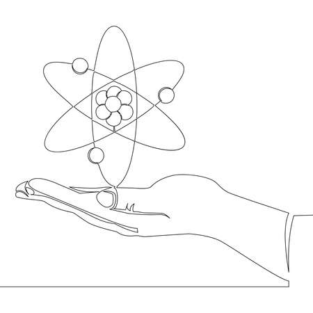 Continuous one single line drawing Hand with atom icon vector illustration concept