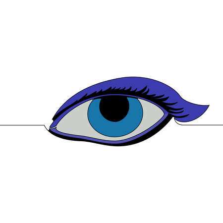Flat colorful continuous drawing line art female eye icon vector illustration concept