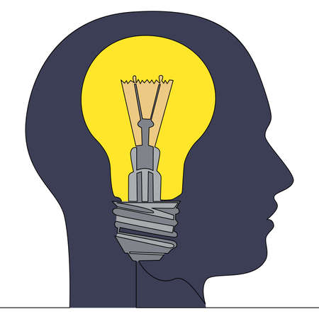 Flat colorful continuous drawing line art idea human head lightbulb icon vector illustration concept Ilustração