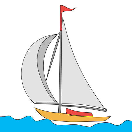 Flat colorful continuous drawing line art Sail boat in the sea icon vector illustration concept