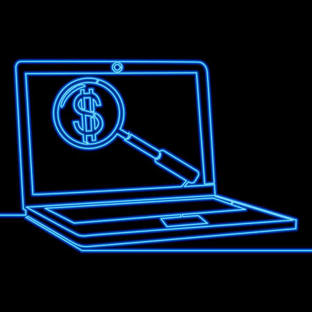 Continuous one single line drawing laptop magnifying glass with dollar Internet marketing icon neon glow vector illustration concept