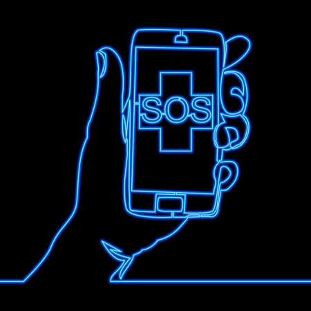 Continuous one single line drawing Smartphone Doctor online medical sos icon neon glow vector illustration concept