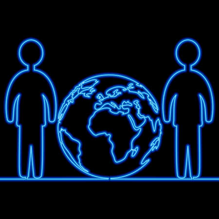 Continuous one single line drawing Earth team worldwide connection icon neon glow vector illustration concept