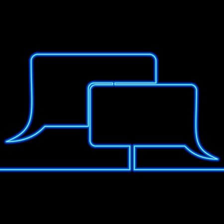 Continuous one single line drawing blue Dialogue speech bubble icon neon glow vector illustration concept