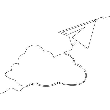 Continuous one single line drawing cloud and paper plane icon vector illustration concept Ilustração