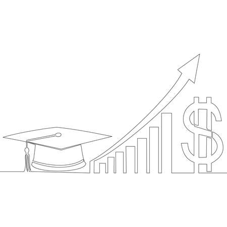 Continuous one single line drawing rising cost of education icon vector illustration concept Ilustração