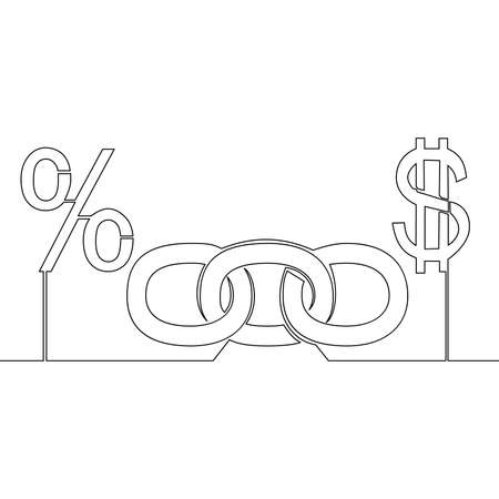 Continuous one single line drawing Chain link dollar and Percent icon vector illustration concept