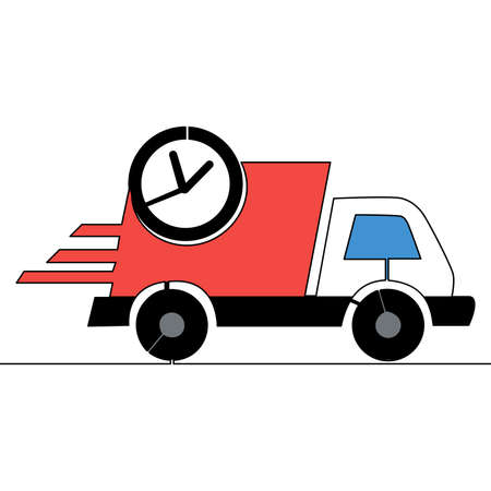 Flat colorful continuous drawing line art On time delivery icon vector illustration concept