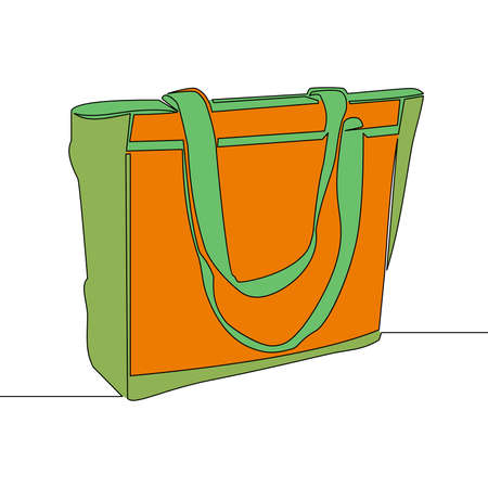 Flat colorful continuous drawing line art shopping bag icon vector illustration concept Ilustração