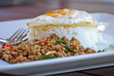 Pad Krapow Moo, spicy stir-fried pork with Thai holy basil photo