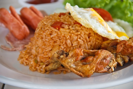 American fried rice, egg and chicken photo