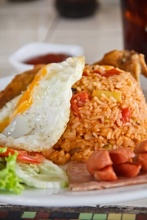 Am�rica arroz frito, huevo y la gallina photo