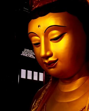 mercy: Gold Guan Yin Statue wonderful  Stock Photo