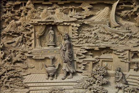 Guan Yin carved wooden paint in chinese temple