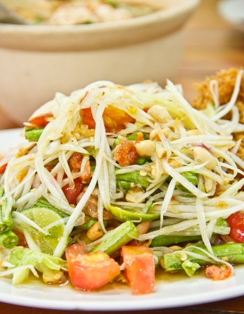 Thai green papaya salad is delicious  photo