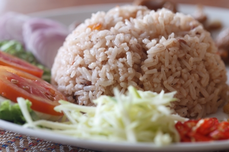 Rice with shrimp paste as a famous and delicious Thai food  photo