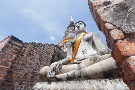Buddha at Wat Yai Chai Mongkol  Ayutthaya  photo