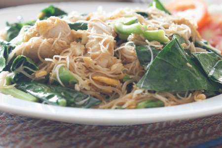 Thai noodle fried with mixed vegetable and egg, Thai style photo