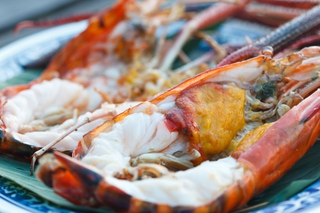giant freshwater prawn grilled on plate photo