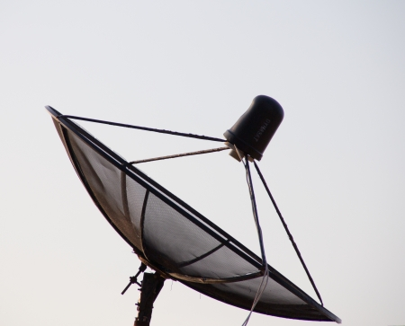 A large black satellite dish  Stock Photo - 14059211