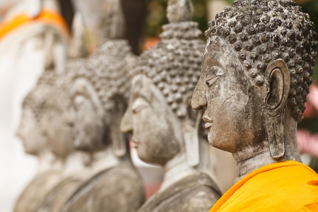 Statues of Buddha in a row  Wat Yai Chai Mongkol, Ayutthaya in Thailand  photo
