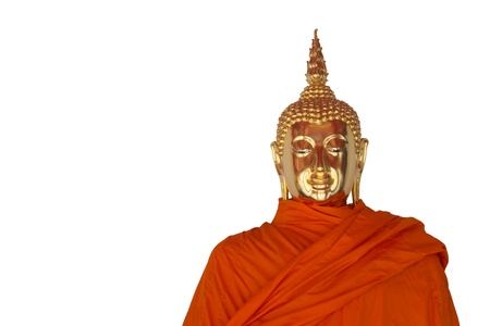 Buddha image on the front of a white background photo