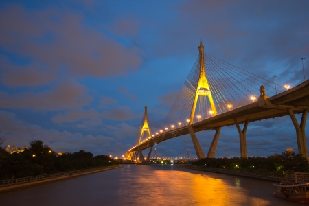 The bridge crosses the Chao Phraya River twice. Stock Photo - 16689535