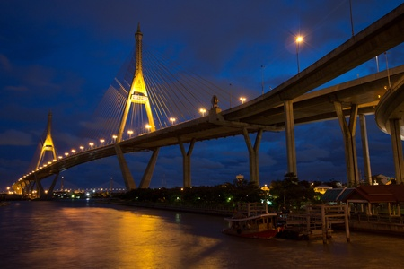 The bridge crosses the Chao Phraya River twice. photo