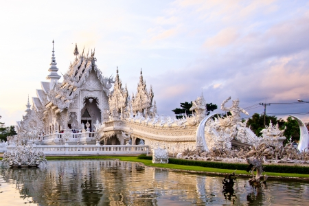 veneration: The beautiful Wat Rong Khun. Chiang Rai, Thailand Stock Photo