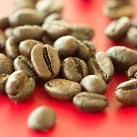 Fresh coffee beans on red background photo