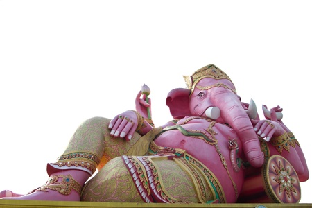big pink Ganesha in relax pose photo