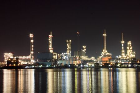 scenic of petrochemical oil refinery plant shines at night Stock Photo - 17710348