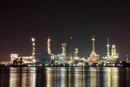 scenic of petrochemical oil refinery plant shines at night Stock Photo - 17710338