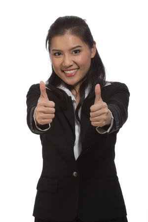 Beautiful business woman smiling happily Success. photo