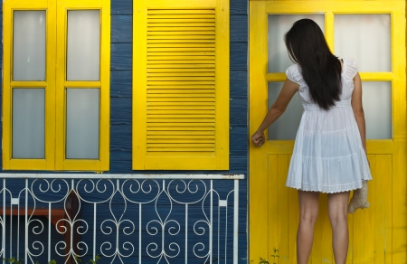 White women are the yellow door. photo
