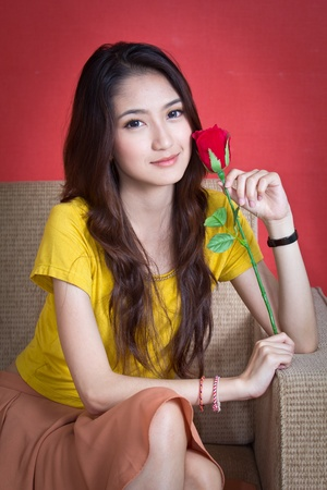 Beautiful Fashion Girl with Roses Stock Photo - 18815599