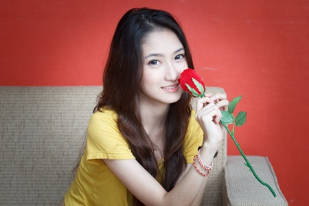 Beautiful Fashion Girl with Roses photo