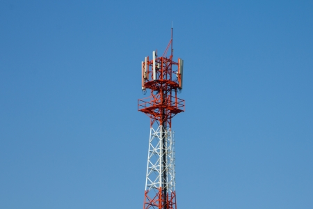 parabola: Modern antenna with flat parabola on blue sky