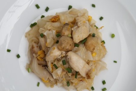mee pok: Stir Fried Rice Noodle with Chicken Stock Photo