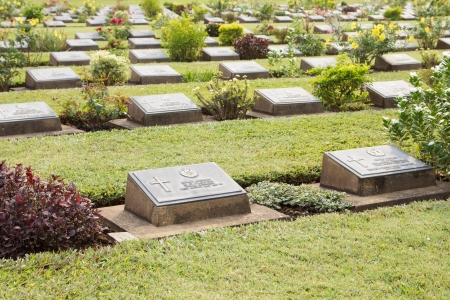 Gravestone at World War II Cemetery, Kanchanaburi, Thailand