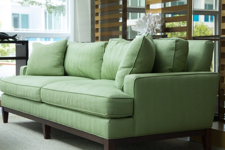 nice green sofa with pillows photo