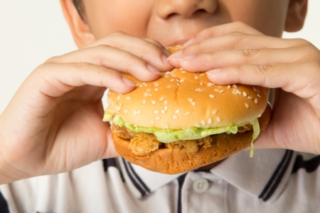 unhealthy snack: Little boy eating a hamburger. isolated on a white background