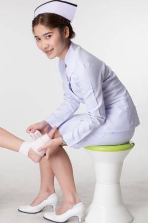 ulceras: Las enfermeras son el tratamiento de pacientes con �lceras del pie.