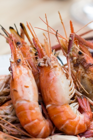 Salted shrimp grilled seafood is delicious. Stock Photo