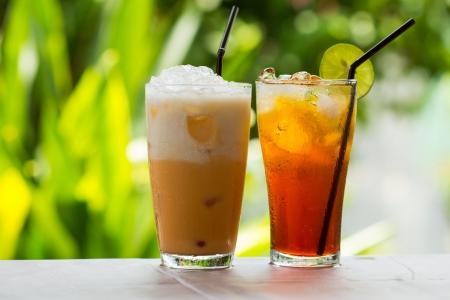 iced coffee: Ice Tea   thai ice tea with milk and non milk  Stock Photo