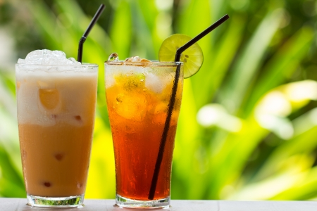 té helado: Ice Tea  té helado tailandés con leche y no la leche Foto de archivo