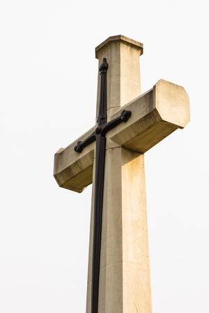 mormon: Cross on a white background.