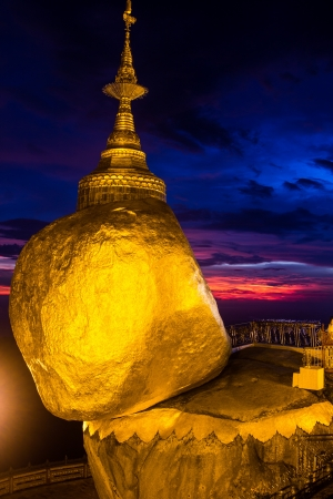 Golden Rock, one of the most sacred buddhist stupa, Kyaiktiyo Pagoda, Myanmar. photo