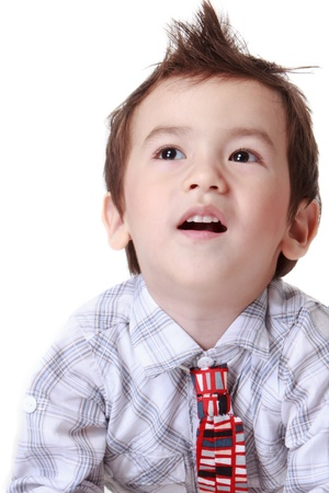 tailor seat: Closeup picture of a cute little boy. Stock Photo